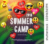 themed summer camp poster  with ... | Shutterstock .eps vector #1034656594