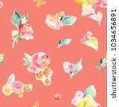repeating tropical watercolor... | Shutterstock . vector #1034656891