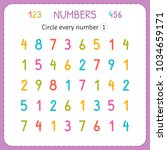 circle every number one.... | Shutterstock .eps vector #1034659171