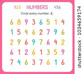 circle every number six.... | Shutterstock .eps vector #1034659174
