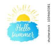 hello summer text with sun ... | Shutterstock .eps vector #1034665381