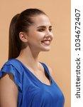 beautiful female three quarters ...   Shutterstock . vector #1034672407