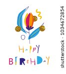 colorful happy birthday card.   Shutterstock .eps vector #1034672854