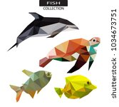 low poly sea animal logo icon... | Shutterstock .eps vector #1034673751