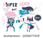super hero girls. hand drawn... | Shutterstock .eps vector #1034677429