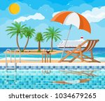 swimming pool and ladder.... | Shutterstock .eps vector #1034679265