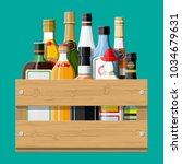 alcohol drinks collection in... | Shutterstock .eps vector #1034679631