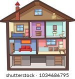 cartoon house interior. vector... | Shutterstock .eps vector #1034686795