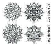line doodle mandala oriental... | Shutterstock .eps vector #1034687605