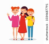 three children standing and... | Shutterstock .eps vector #1034687791