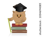 wise owl sits on a book of... | Shutterstock .eps vector #1034694085