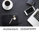 flat lay man set  cup of coffee ... | Shutterstock . vector #1034695999