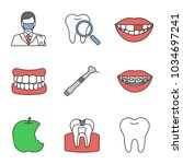dentistry color icons set.... | Shutterstock .eps vector #1034697241