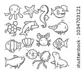 cute hand drawn cute sea animal ... | Shutterstock .eps vector #1034703121