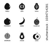 delicious fruit icons set.... | Shutterstock .eps vector #1034714281