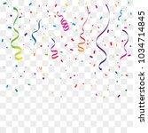 colorful confetti and ribbon... | Shutterstock .eps vector #1034714845