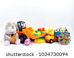 set of toys for children on a... | Shutterstock . vector #1034730094