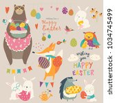 animals celebrating easter | Shutterstock .eps vector #1034745499