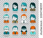 flat graphic people icons. set... | Shutterstock .eps vector #1034748559
