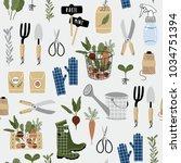 gardening seamless pattern.... | Shutterstock .eps vector #1034751394