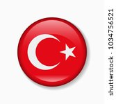 turkey flag round badge or icon ... | Shutterstock .eps vector #1034756521