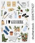 i love gardening card. vector... | Shutterstock .eps vector #1034757427