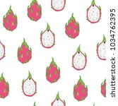 tropical dragon fruit vector... | Shutterstock .eps vector #1034762395