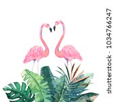couple pink flamingos. tropical ... | Shutterstock .eps vector #1034766247