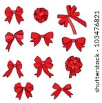 set of red ribbon bows | Shutterstock .eps vector #103476821