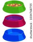 colorful cartoon pet food empty ... | Shutterstock .eps vector #1034768755