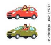 happy man and woman  drive... | Shutterstock .eps vector #1034774794