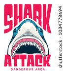 shark attack poster   t shirt... | Shutterstock .eps vector #1034778694