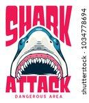 shark attack poster   t shirt... | Shutterstock .eps vector #1034778694