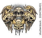 gothic coat of arms with skull  ...   Shutterstock .eps vector #1034786431