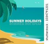 summer seaside landscape. blue... | Shutterstock .eps vector #1034791201