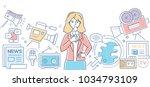 mass media today   modern color ... | Shutterstock .eps vector #1034793109