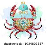patterned crab on the... | Shutterstock .eps vector #1034803537