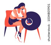 fitness and diet concept. sad... | Shutterstock .eps vector #1034805901
