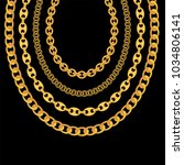gold chain jewelry on black... | Shutterstock .eps vector #1034806141