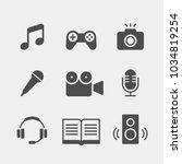 media flat vector icons set.... | Shutterstock .eps vector #1034819254