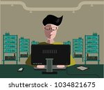 server room with an it engineer ... | Shutterstock .eps vector #1034821675