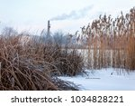 winter views of the pond with... | Shutterstock . vector #1034828221
