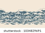 Stock vector sea waves sketch pattern ocean surf wave hand drawn horizontal seamless pattern vector illustration 1034829691