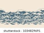 sea waves sketch pattern. ocean ... | Shutterstock .eps vector #1034829691