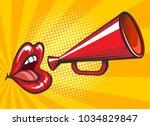 pop art loudspeaker poster.... | Shutterstock .eps vector #1034829847