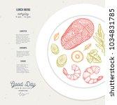 lunch menu food plate... | Shutterstock .eps vector #1034831785