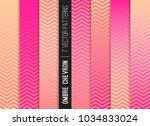 pink peach ombre chevron vector ... | Shutterstock .eps vector #1034833024