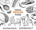 mexican food and drink sketch.  ... | Shutterstock . vector #1034833417