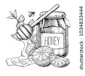 honey with lemon and mint... | Shutterstock . vector #1034833444