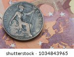 old british one penny coin with ...   Shutterstock . vector #1034843965
